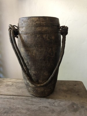 Nepalese Solid Wooden Oil Amira Pot Natural 30cm