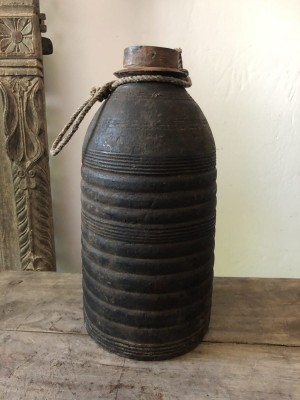Unique Wooden Nepalese Pot Black 15x15x31 cm
