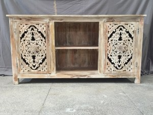 Carved Solid Wood Industrial TV unit entertainment unit 150 X 40 X 78 cm