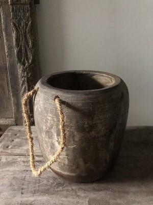Wooden Nepalese Pot Bo - Djin Size M Black 22x22x20 cm