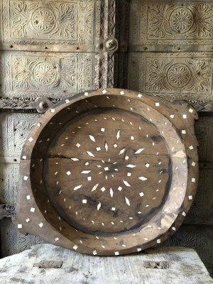 Indian Wooden Parat Bowl Bone Inlay 55x55x6 cm