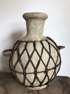 Paper Mache Jug With Braided Leather White 28x28x31 cm
