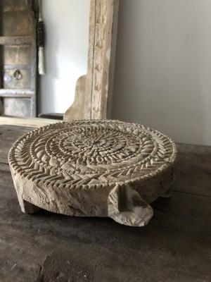 Mandala Of Wood Unique Chapati Plate F 21x19 cm