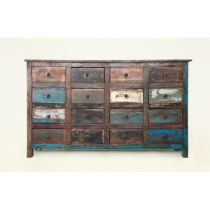 Rustica reclaimed boat timber 16 drawer chest buffet sideboard