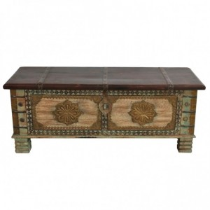 Indian Embossed Antique Brass work Solid wood Rustic Green Blanket Box Chest
