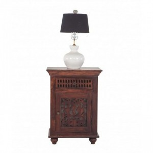 Jali Carved Wooden French Bedside Brown
