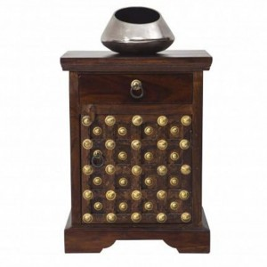 Brasswork Fitted wooden Lamp Side Table