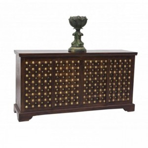 Mogra Brass Work Indian Antique Style Walnut Sideboard Buffet 160x40x85cm