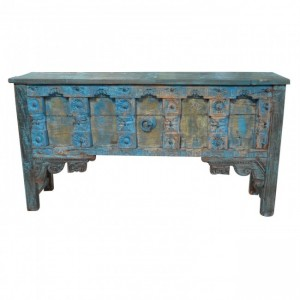 Antique Carved Console Table Blue
