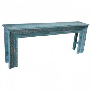 Antique Hand Carved Console Table Blue