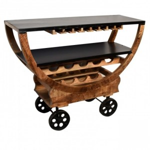 Industrial Wood Metal Wine Rack on Wheels