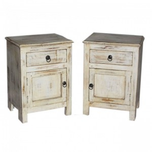 Contemporary Shabby Chic White Pair of Bedside