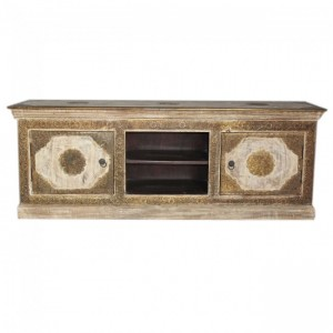Indian Embossed Antique Brass work Solid wood Entertainment Unit TV Stand 165cm