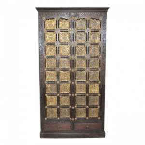 Indian Embossed Antique Brass work Solid wood Large Cabinet Pantry Cupboard