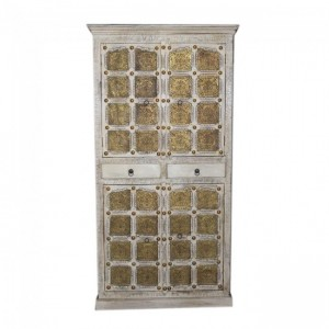 Indian Embossed Antique Brass work Solid wood White Large Cabinet Pantry 2m