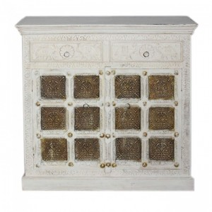 Indian Embossed Antique Brass work Solid wood 2 Door Sideboard White Golden