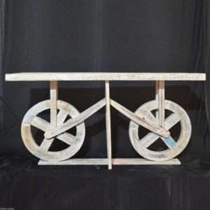 Contemporary Unique Wheel Design Console Table