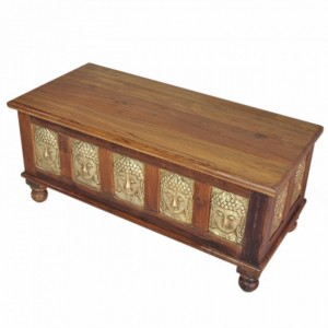 Indian Embossed Buddha Brass work Solid wood Blanket Box Coffee Table Chest