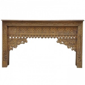 Antique Indian Carved Natural Console Table