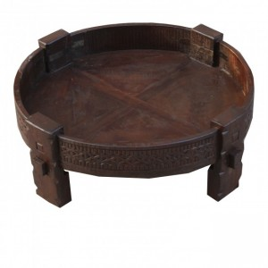 Tribal Grinder Round Coffee Table Antique