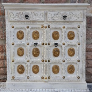 Indian Embossed Buddha Brass work Solid wood Small Sideboard Buffet White