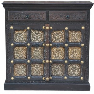 Indian Embossed Antique Brass work Solid wood 2 Door Sideboard 90x40x90cm