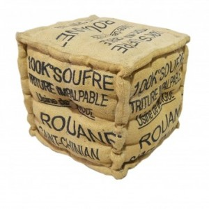 Letters Jute Cube Ottoman Puff