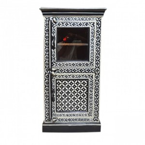 Pandora Bone Inlay Painted Cabinet With Glass