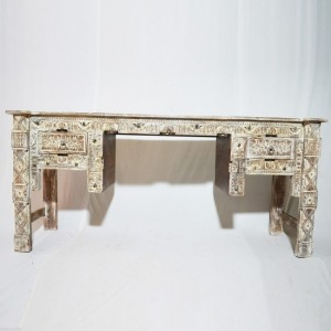 Indian Antique Hand Carved White Hall Table