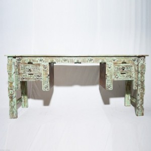 Indian Antique Hand Carved Green Hall Table