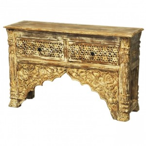 Indian Carved Cream Console Table With 2 Drawer