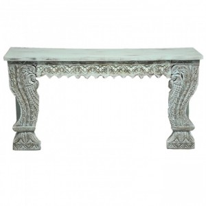 Indian Antique Carved Pillar Green Console Table
