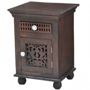 Hand Carved Wooden Bedside Brown