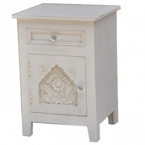 Hand Carved Wooden French Bedside White