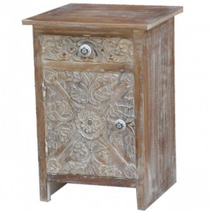 Paris Solid Wood Carved Whitewash Bedside