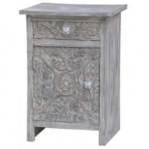 Paris Solid Wood Carved White Bedside