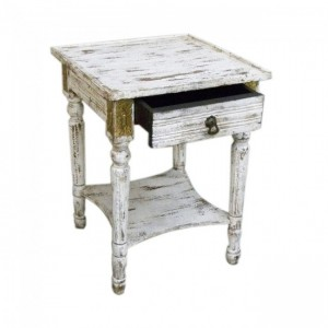 Brass work Timber Distressed White Lamp Table With Drawer
