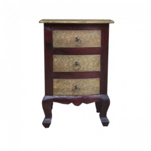 Indian Brass Embossed 3 Drawer Bedside