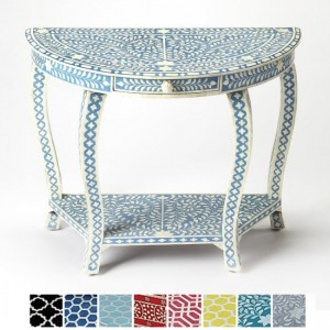 Maaya Bone inlay Blue Floral Console Hall table 1 drawer