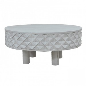 Bristol Carved Diamond Round Coffee Table Legs White
