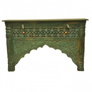 Indian Carved Green Console Table