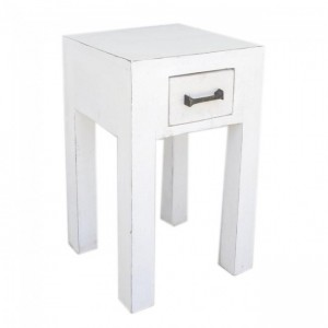 Kompact Wooden Bedside White Square 30X30