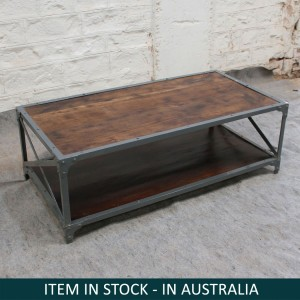 Industrial Angle Large Side Table Coffee Table Brown