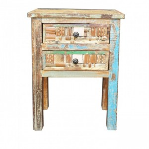Liberty Reclaimed Wood 2 Drawer Bedside 60cm
