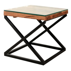 Live Edge X Design Side Table Industrial Lamp Table Square Corner 50x50x50cm