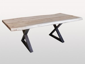 Live Edge Industrial Bleached Acacia Wood Dinning Table Metal Base X