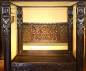 MADE TO ORDER LOTUS MANDALA PILLAR CANOPY BED