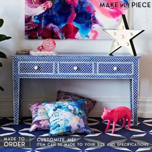 MAAYA Bone Inlay wooden 3 Drawers Hall Table Blue
