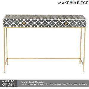 MAAYA Bone Inlay wooden 2 Drawer Hall Side Table