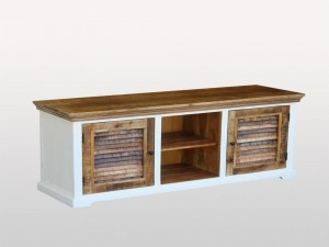 Shutter Indian Solid Wood Shutter Doors Tv Media Console Cabinet